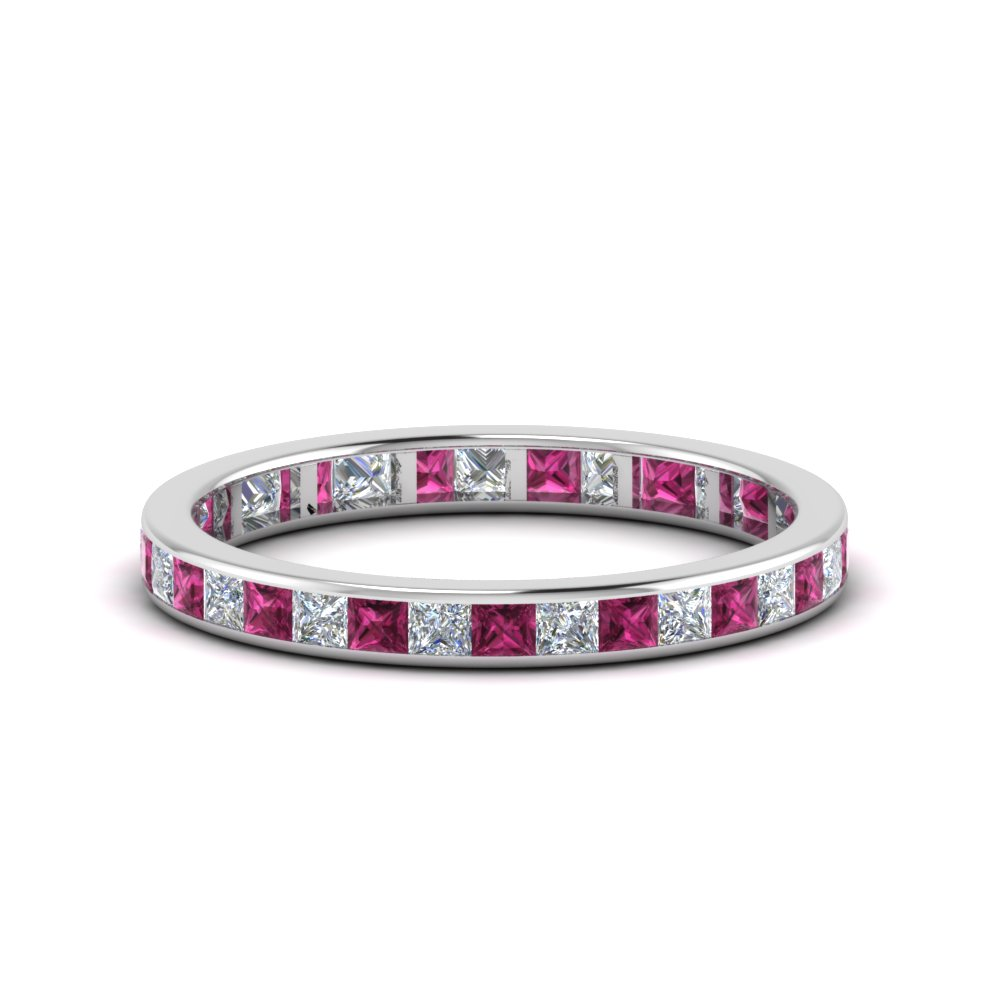 1 carat princess cut diamond channel eternity band with pink sapphire in 14K white gold FDEWB8384 1.0CTBGSADRPI NL WG