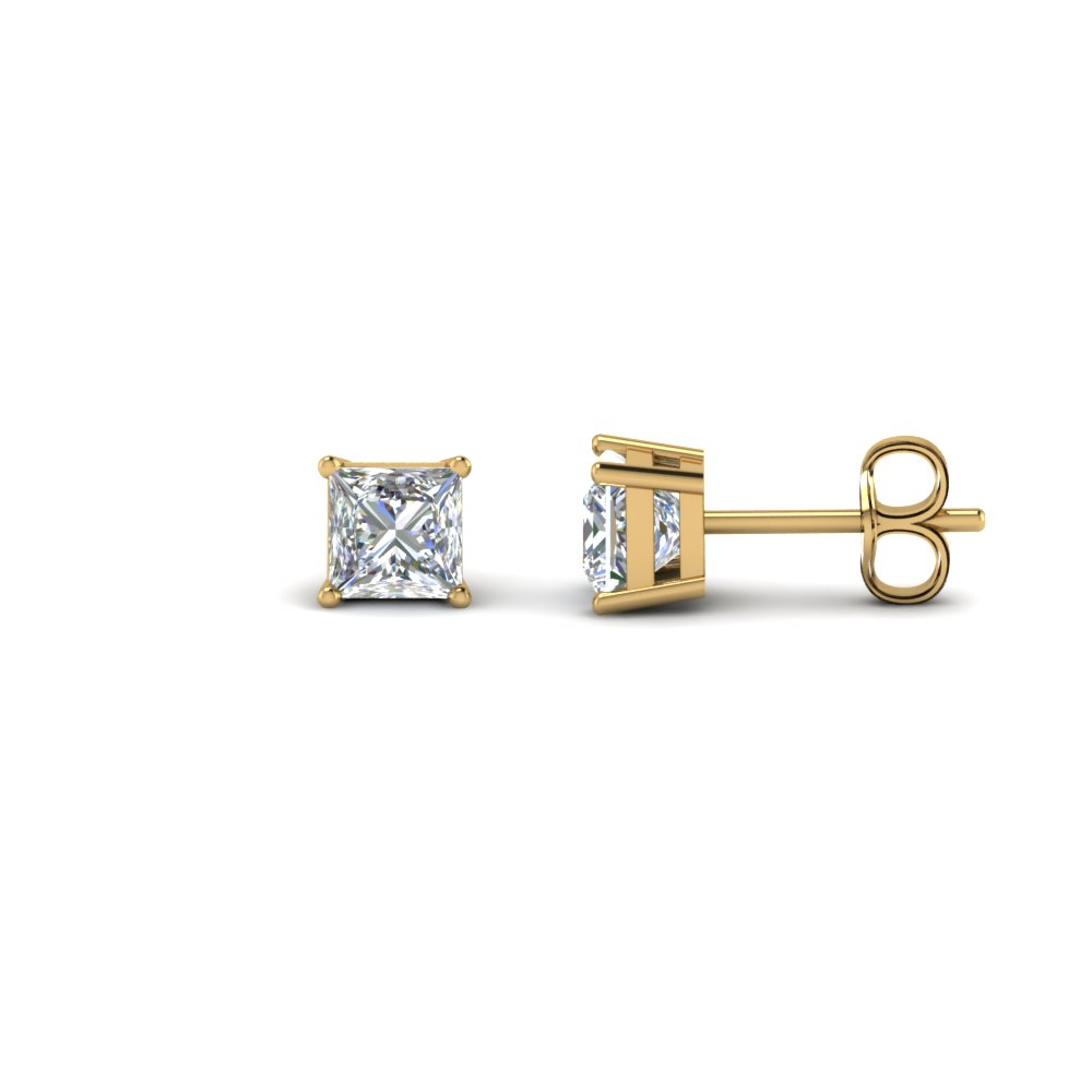 1 Carat Princess Cut Diamond Earring