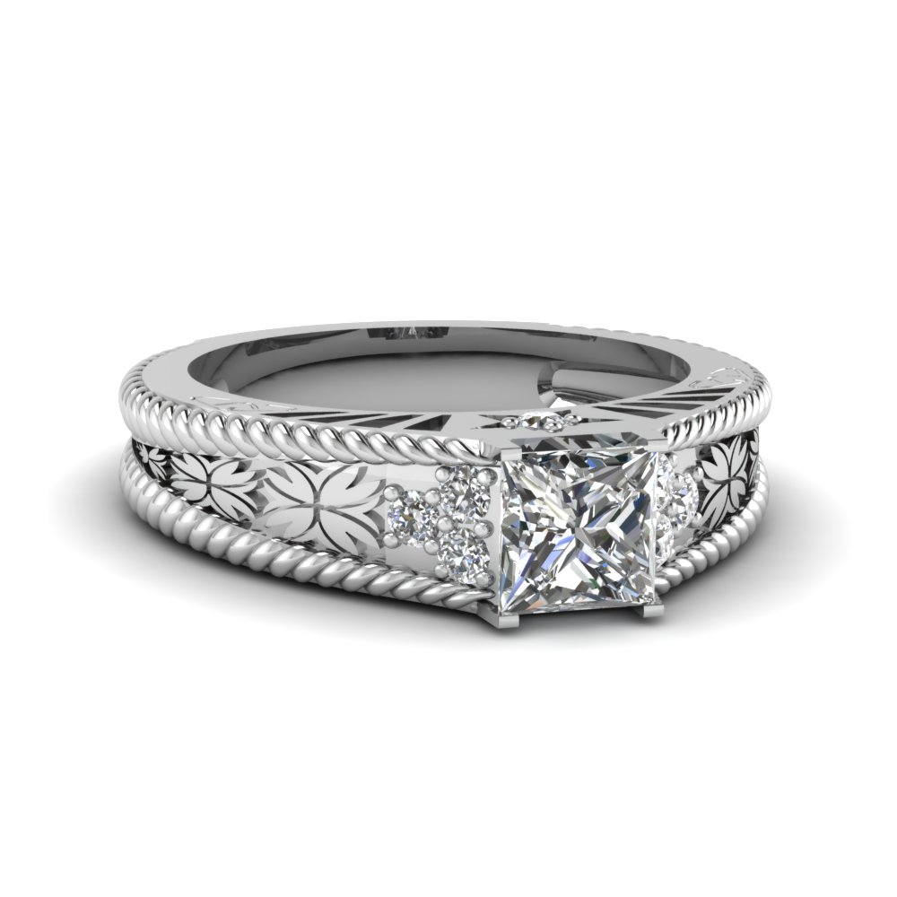 buy 14k vintage white gold wedding rings and bands| fascinating