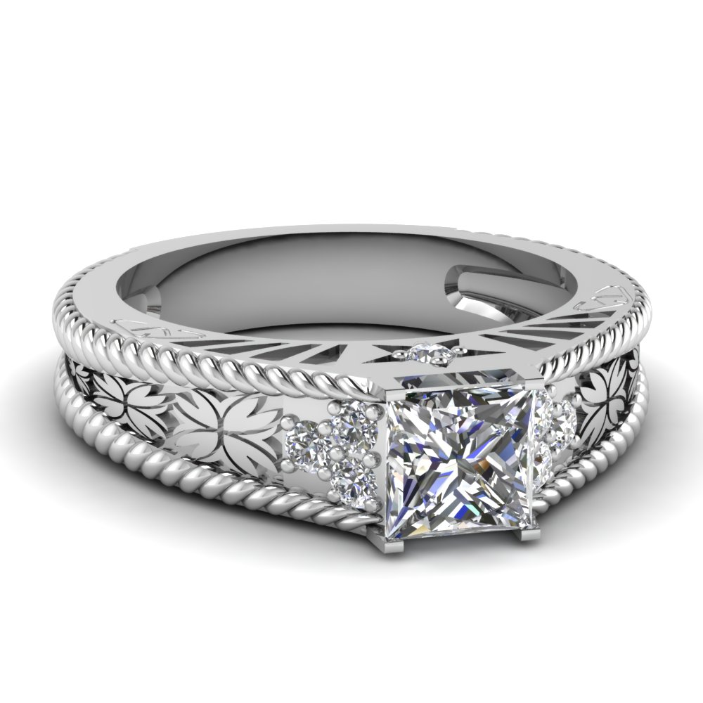 Princess cut Vintage Floral Diamond Engagement Ring in White Gold