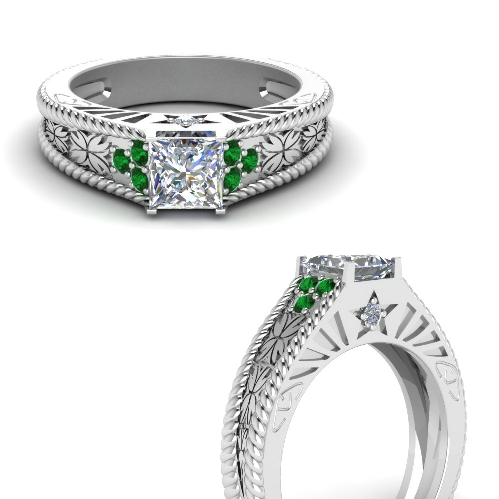bd4615a1c 1 Carat Princess Cut Diamond Vintage Wedding Ring With Emerald In ...