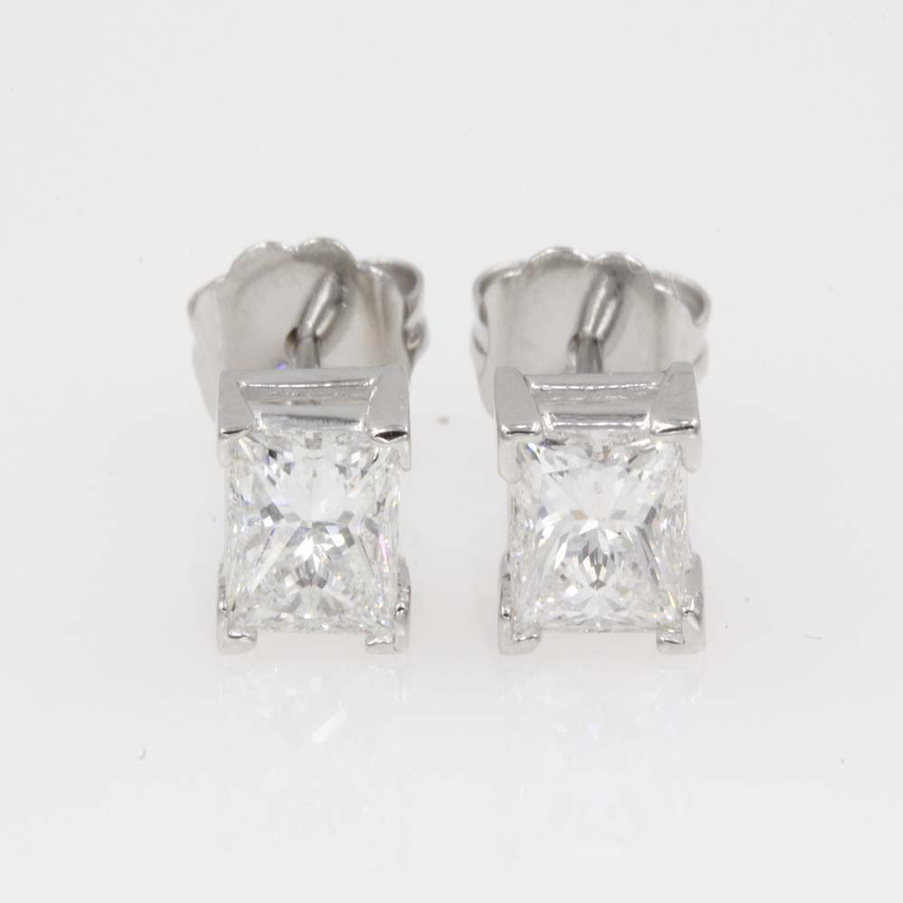 1 carat princess cut stud diamond earring in 14K white gold FDEAR4PR50