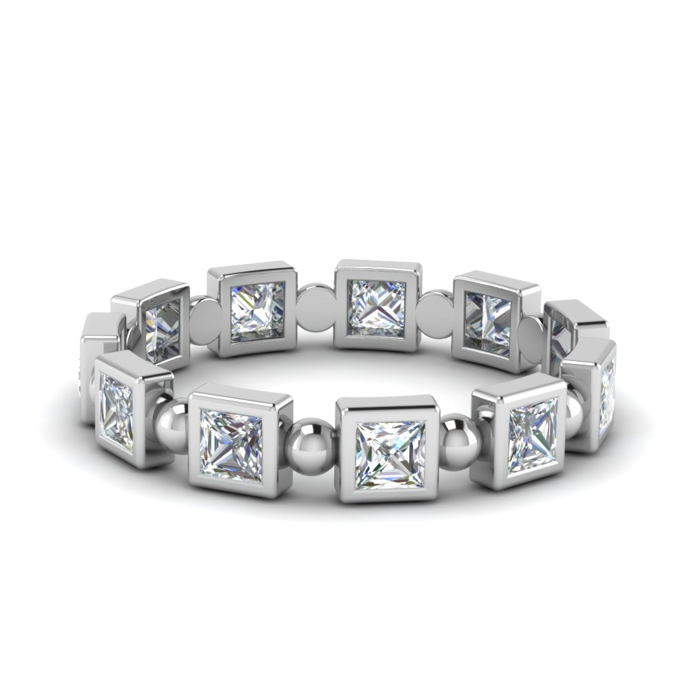 Princess Cut Bead Eternity Band 1 Ct.
