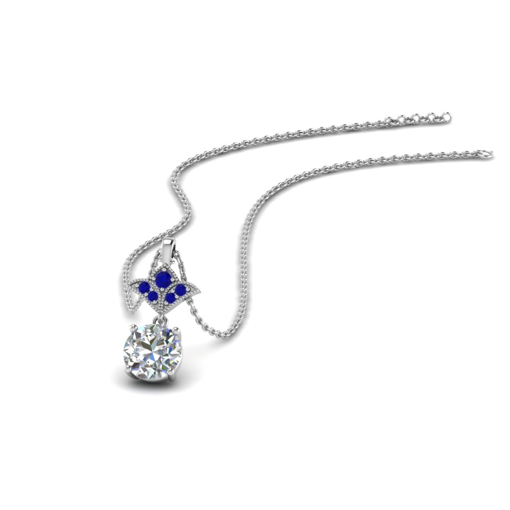 1 carat round art deco inspired pendant with blue sapphire in FDPD8374 1.0CTGSABL NL WG