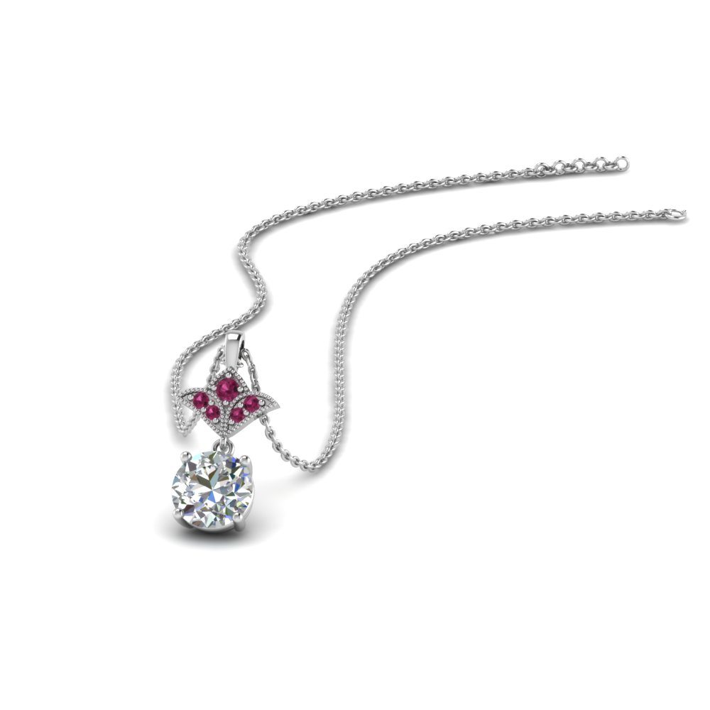 Art Deco Pink Sapphire Inspired Pendant