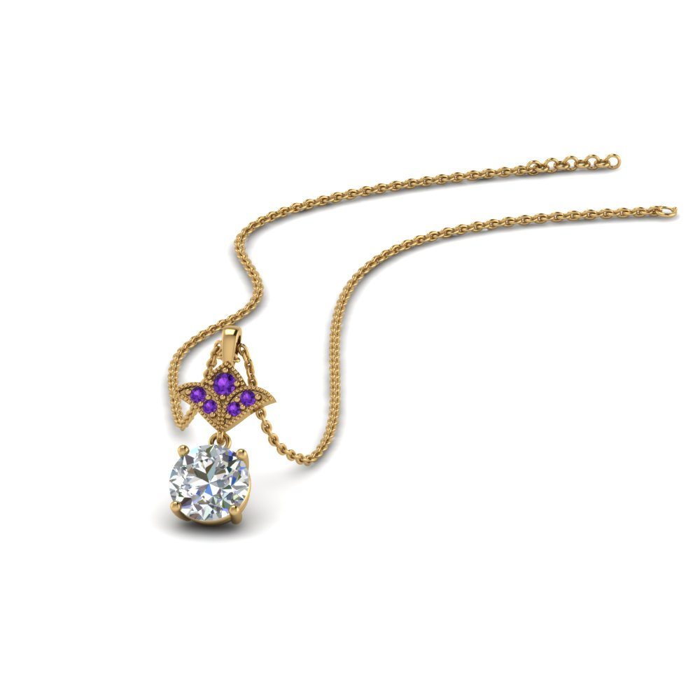 1 carat round art deco inspired pendant with purple topaz in 14K yellow gold FDPD8374 1.0CTGVITO NL YG