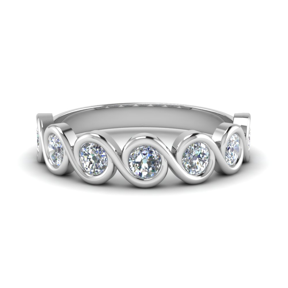 1 Ct. Round Cut Bezel Set Swirl Band