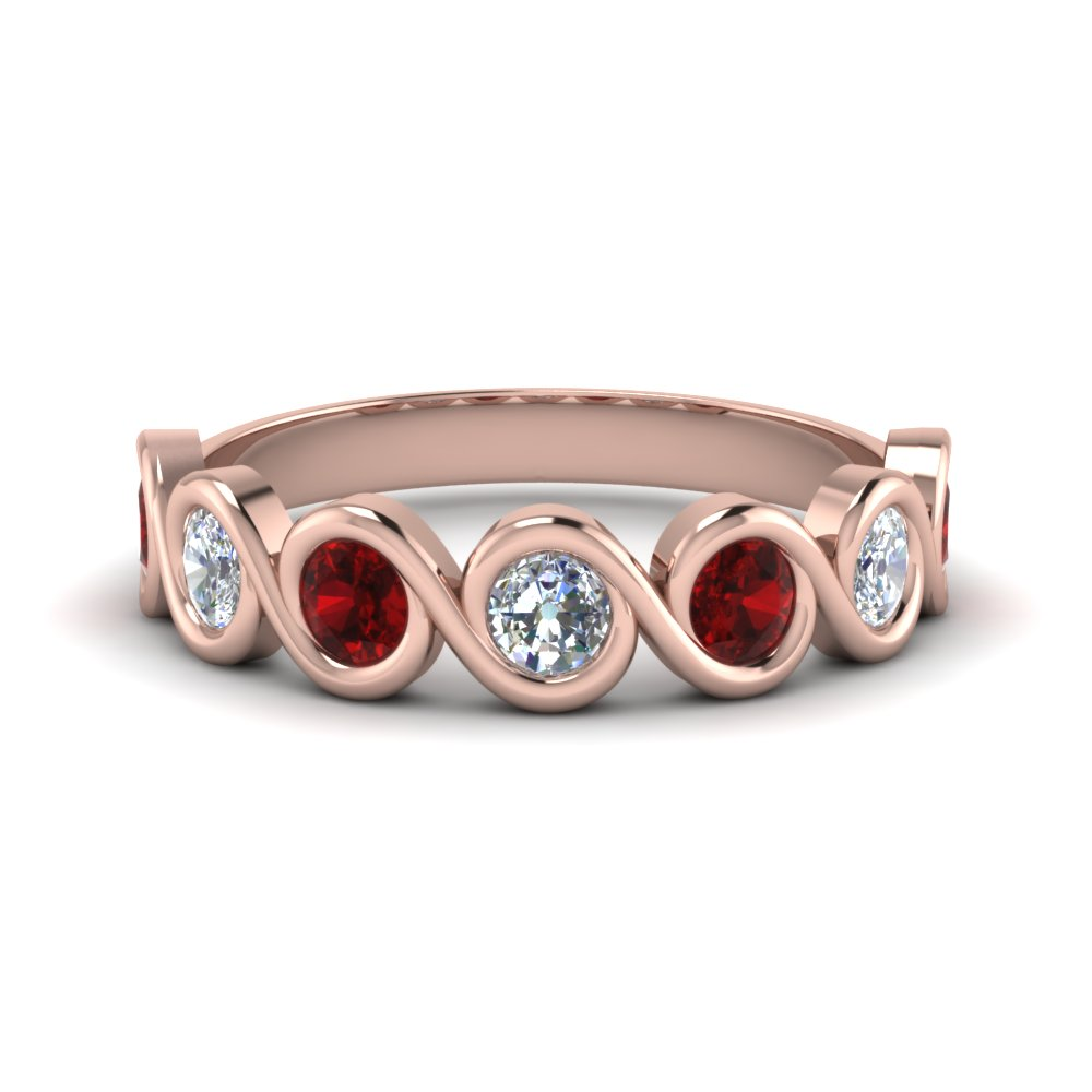 Round Ruby Bezel Set Swirl Band