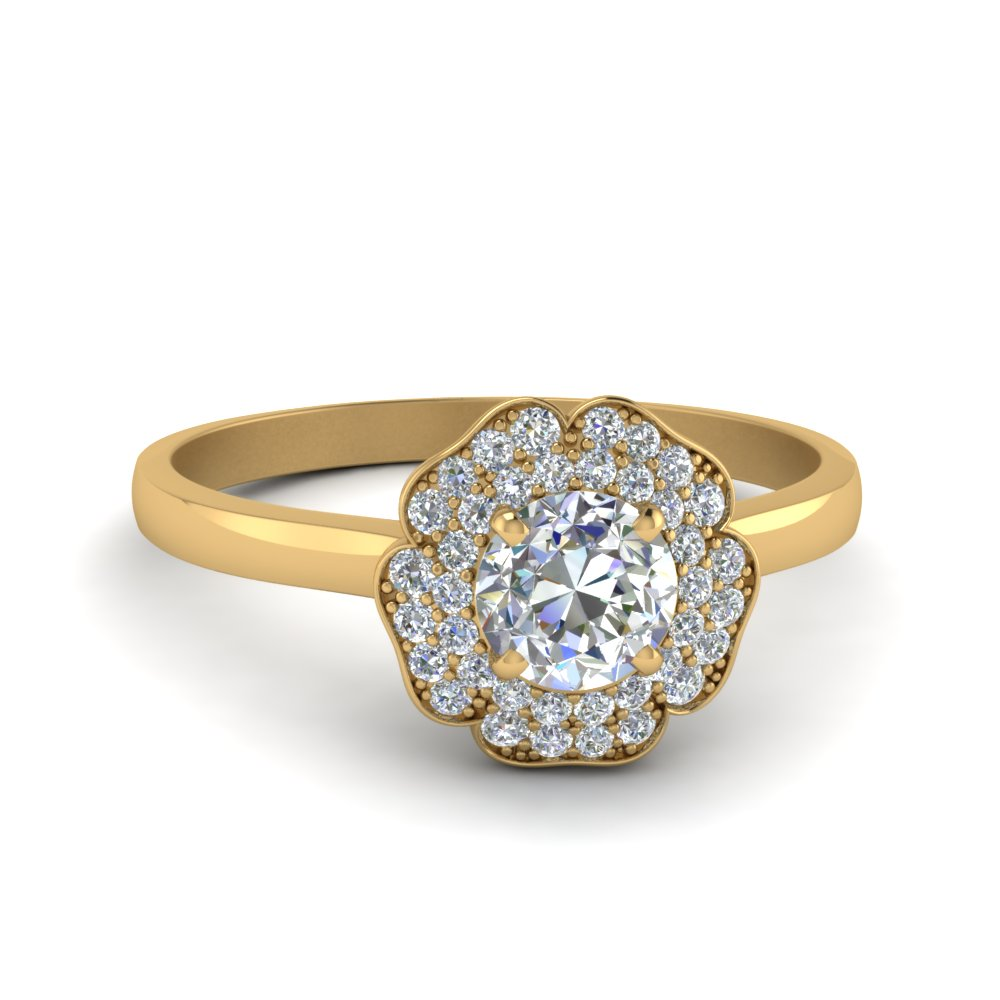 1 carat round flower halo diamond engagement ring in 14K yellow gold FDENS3195ROR NL YG GS