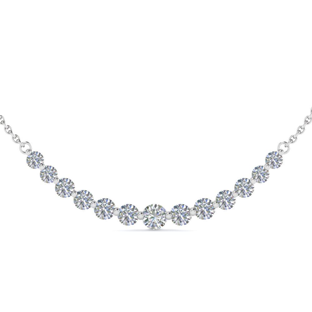 1 Carat Round Graduated Diamond Necklace Gifts For Her In 18k White Gold Fdnk8056 Nl Wg