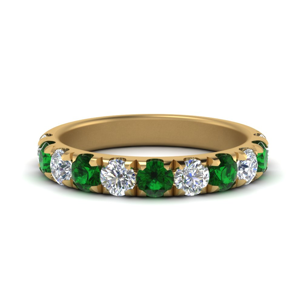1-carat-scalloped-diamond-wedding-band-with-emerald-in-FD123883RO(3.00MM)GEMGR-NL-YG