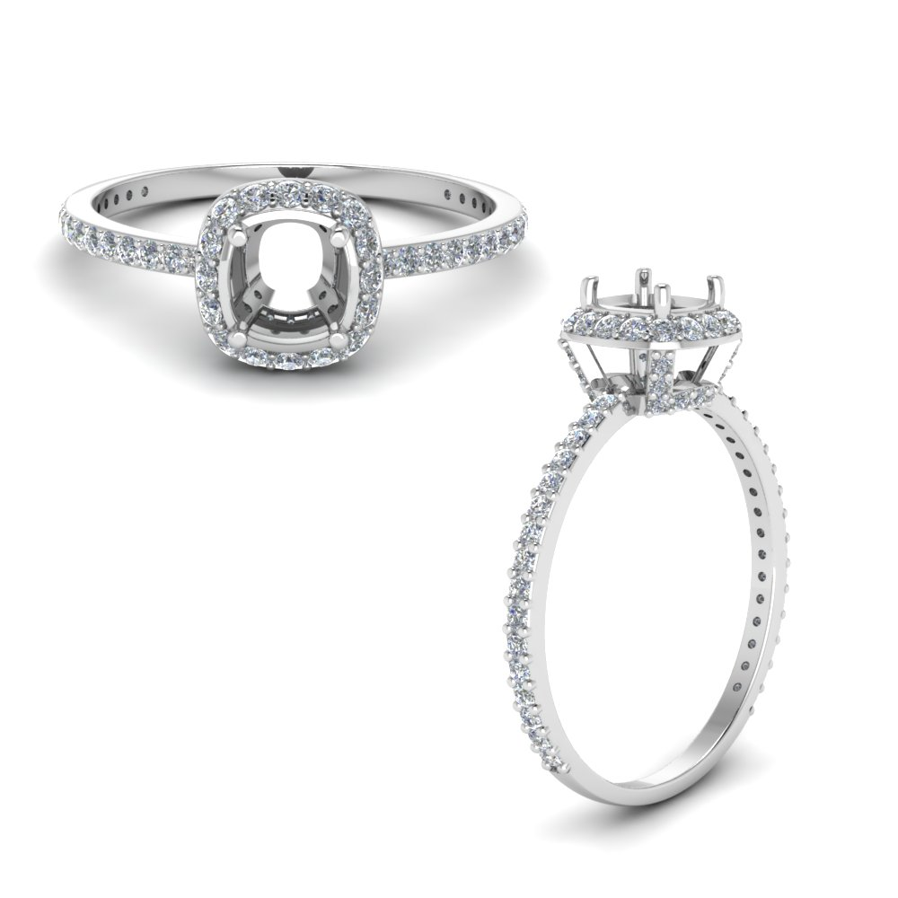 Semi Mount Crown Halo Ring