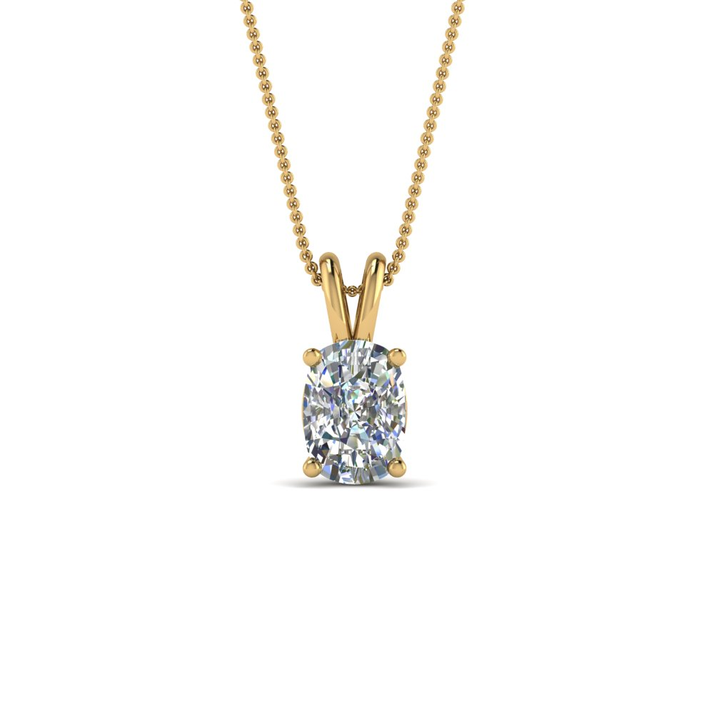 18K Gold Cushion Solitaire Pendant
