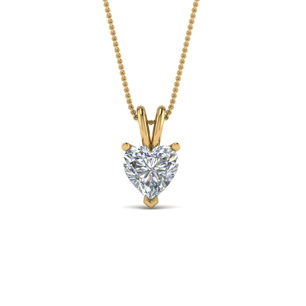 1 ct. heart single diamond pendant in 14K yellow gold FDPD8469HT 1.0CTANGLE2 NL YG