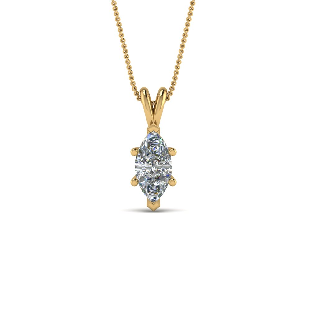 1 Ct. Marquise Single Diamond Pendant