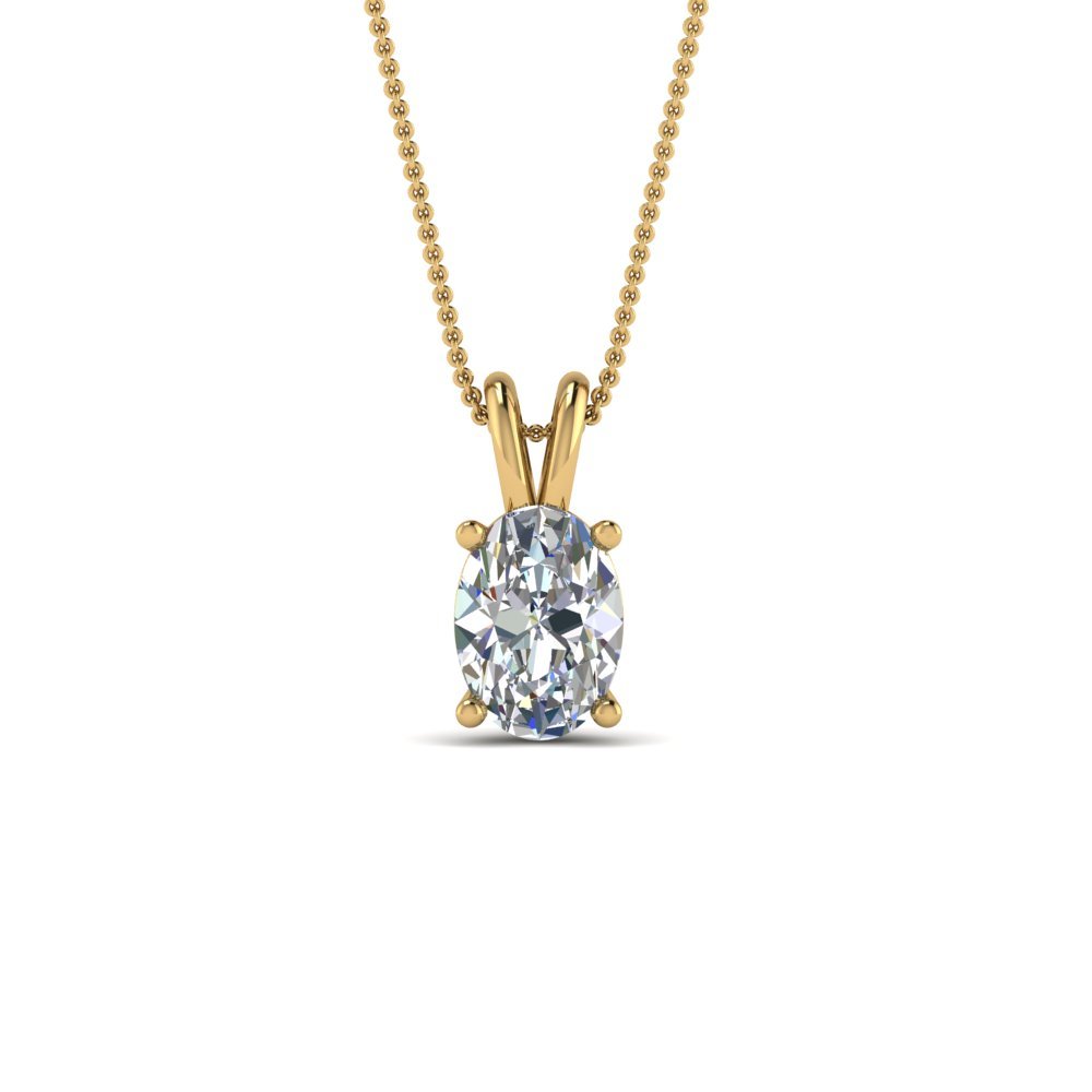 1 Ct. Oval Single Diamond Pendant