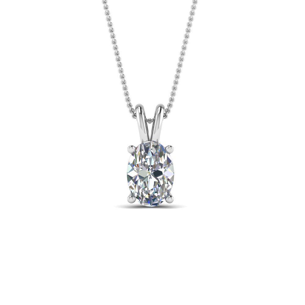 1 Ctw. Oval Single Diamond Pendant