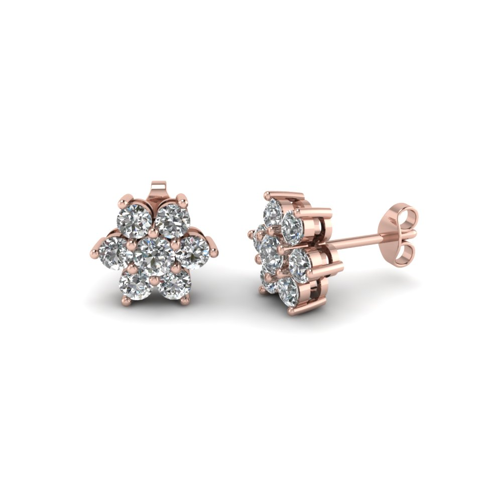 36e8b462a86 7 stone flower diamond earring in 18K rose gold FDEAR1081 NL RG