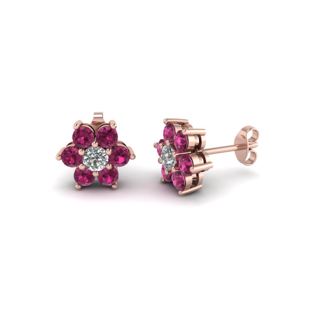 1 ct. 7 stone flower diamond earring with pink sapphire in 14K rose gold FDEAR1081GSADRPI NL RG