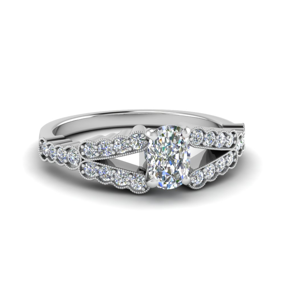 1 Ct. Cushion Cut Milgrain Pave Ring