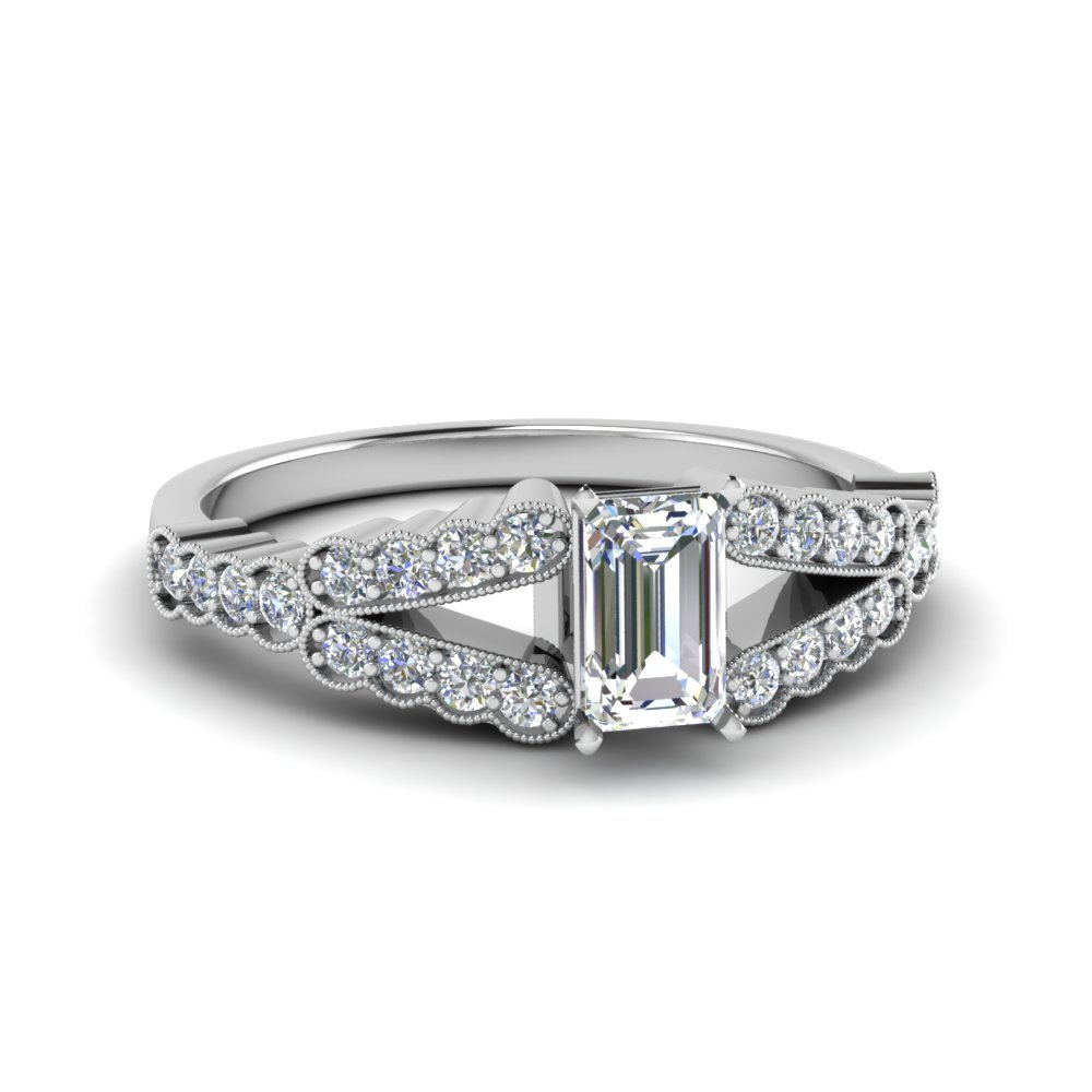 Emerald Cut Diamond Milgrain Pave Ring