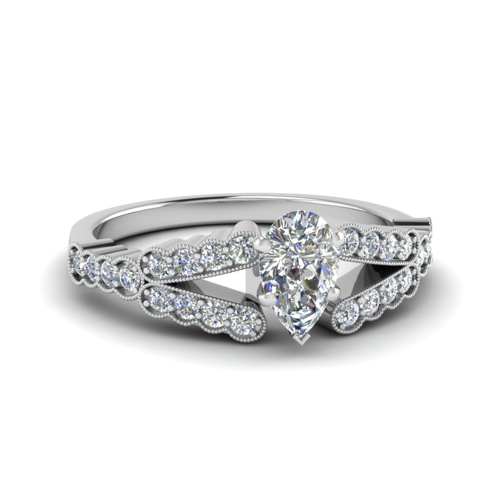 Pear Shaped Split Shank Engagement Ring