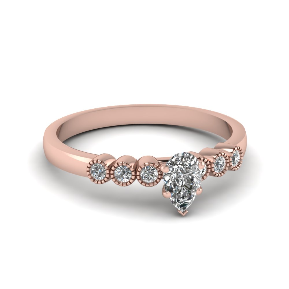 1 ct. moissanite petite bezel set pear shaped engagement ring in rose gold FDENS3079PER NL RG 30