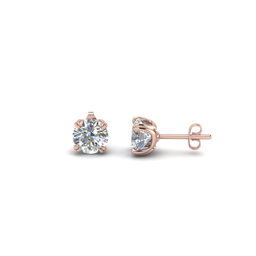 18K Rose Gold Stud Diamond Earring
