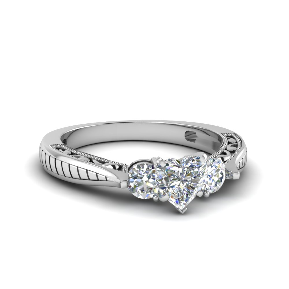 1 ct. diamond vintage heart shaped 3 stone engagement ring in FDENR1814HTR NL WG.jpg