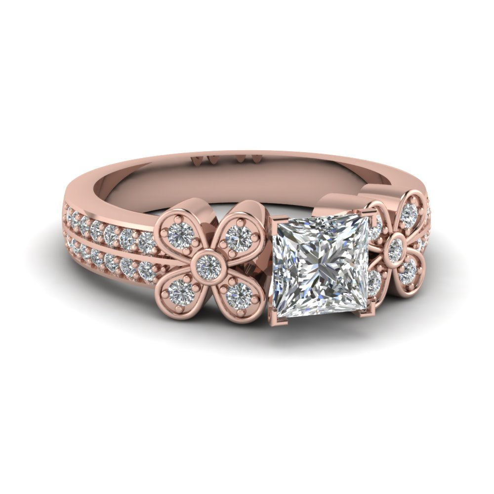 1 ct. princess cut 2 row diamond flower engagement ring in 14K rose gold FDENS3307PRR NL RG