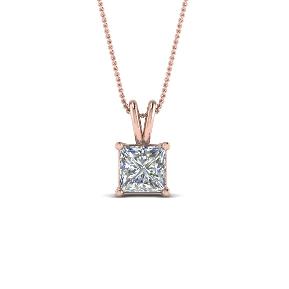 1 ct. princess cut diamond necklace in FDPD8469PR1.0CTANGLE2 NL RG