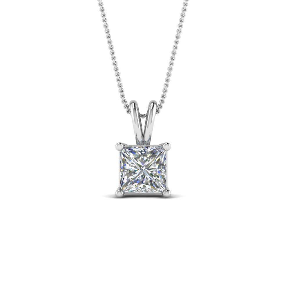 1 Ctw. Princess Cut Diamond Necklace