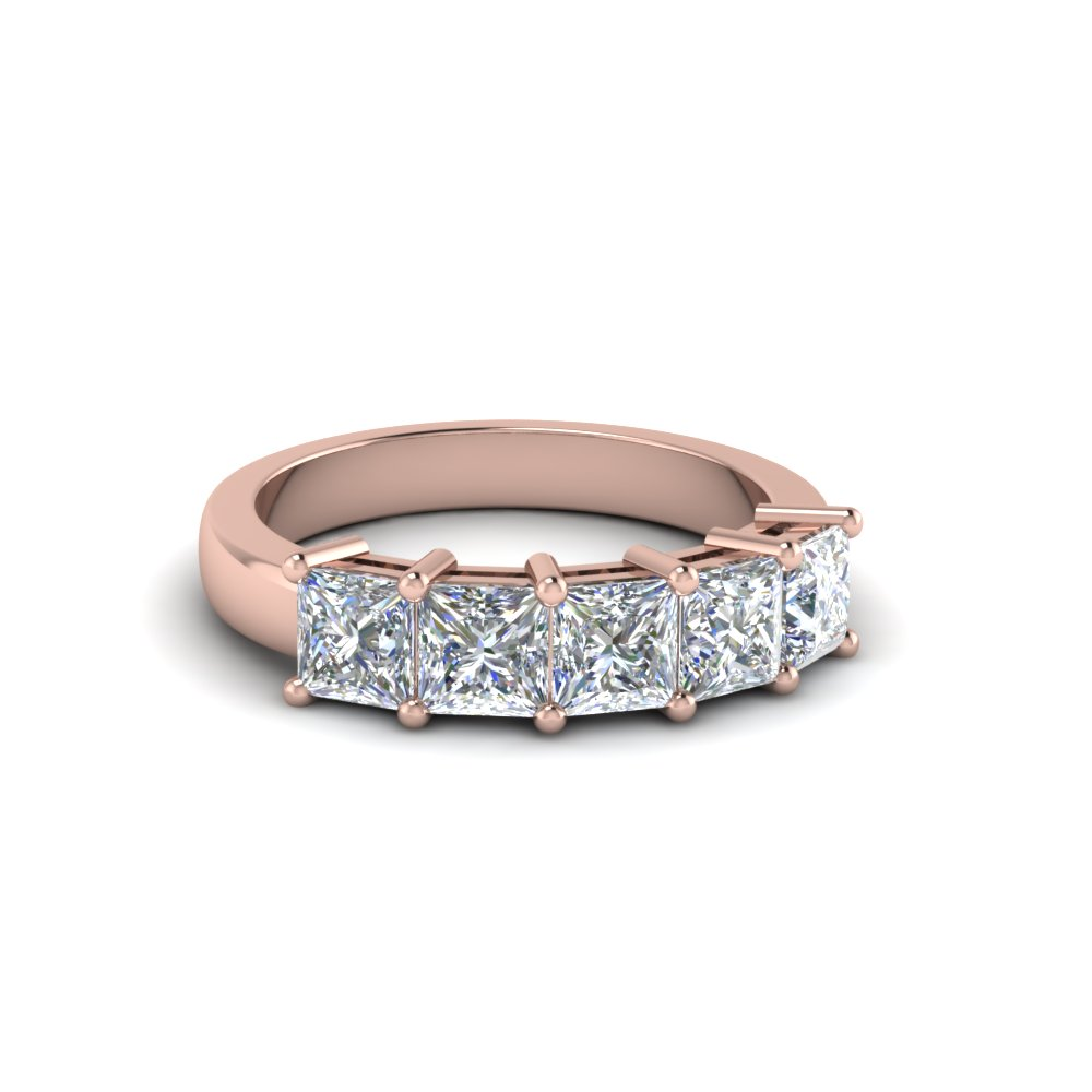 18K Rose Gold Princess Cut Band