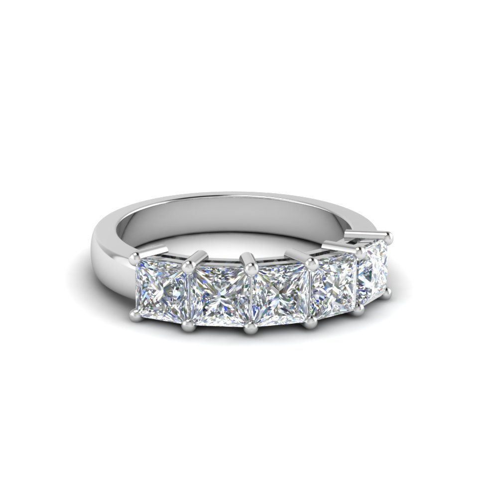 14K White Gold Five Stone Wedding Band