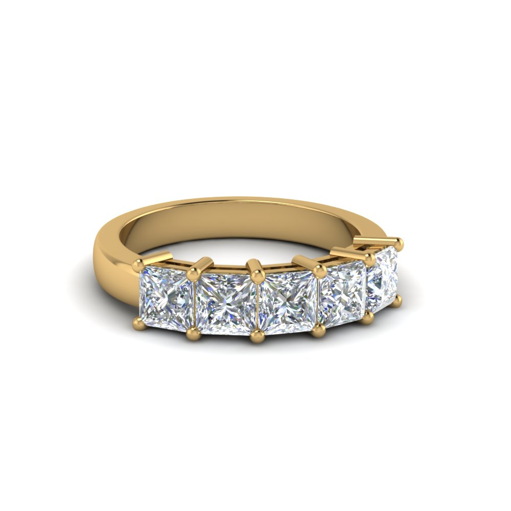 18K Yellow Gold Five Stone Wedding Band