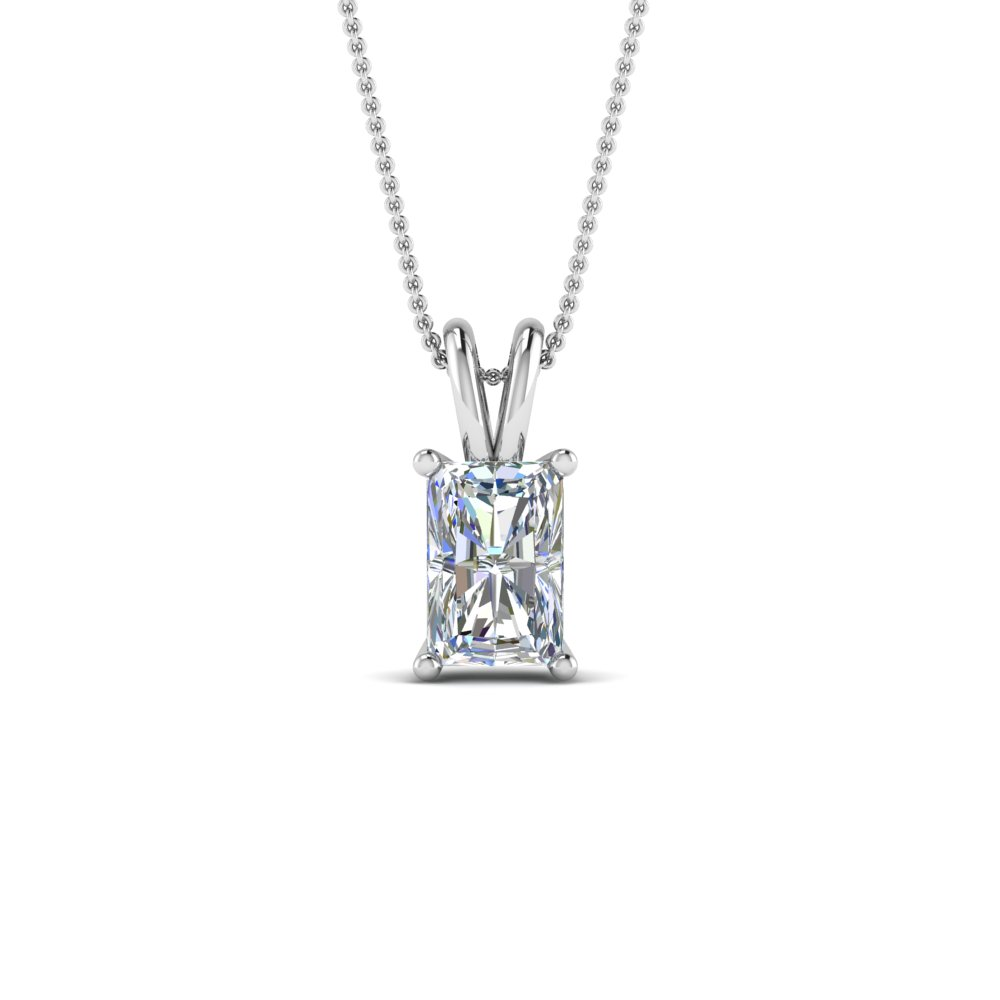 1 ct. radiant diamond pendant in 18K white gold FDPD8469RA 1.0CTANGLE2 NL WG