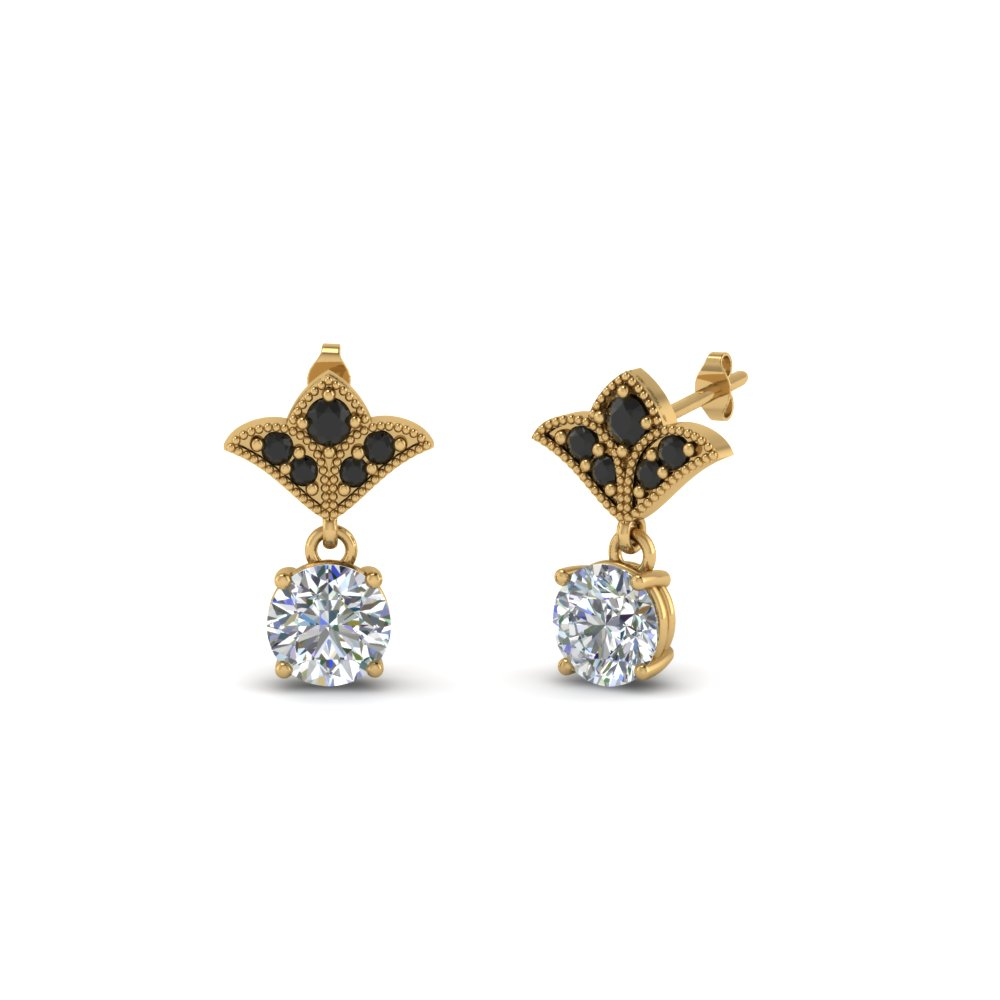 42270348fa9 Earrings for Women with Black Diamond in 14K Yellow Gold