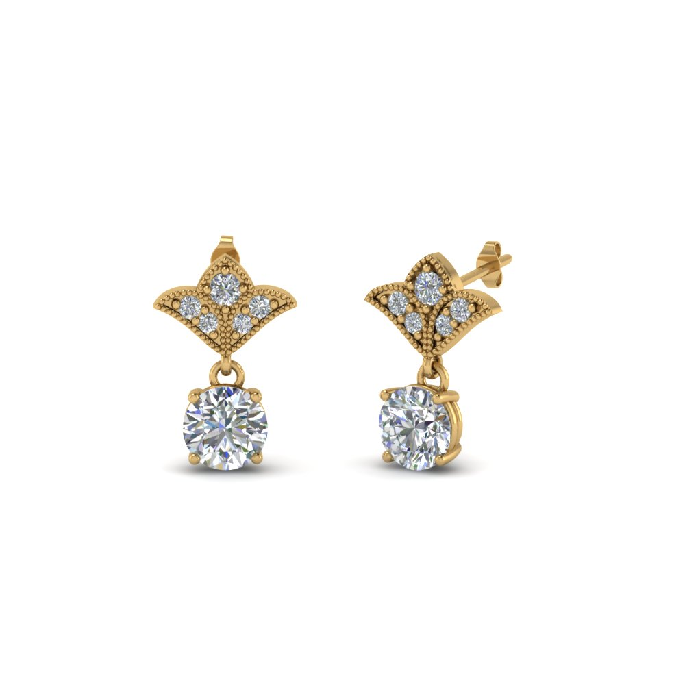 1 Carat Round Cut Art Deco Earring