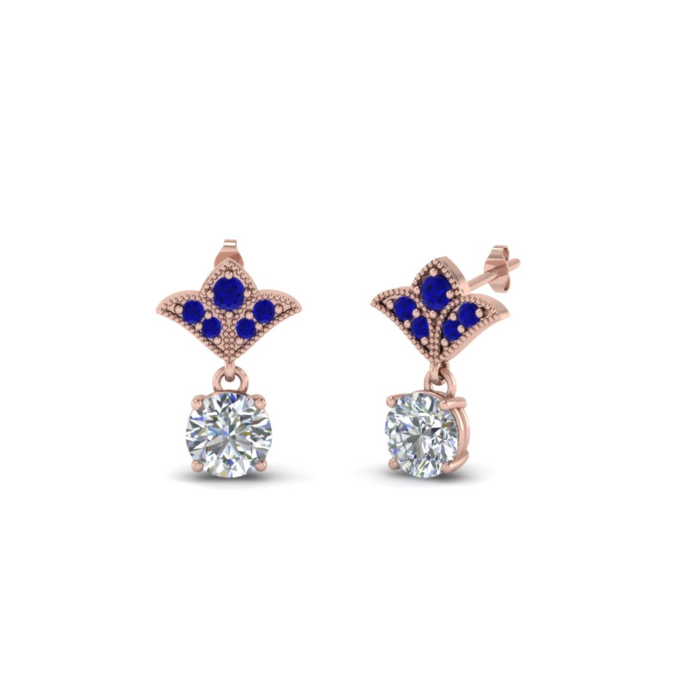 1 ct. round art deco design diamond earring with blue sapphire in 14K rose gold FDEAR8425 0.50CTGSABL NL RG