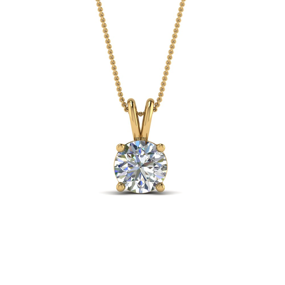 1 ct. round cut diamond pendant in FDPD8469RO1.0CTANGLE2 NL YG