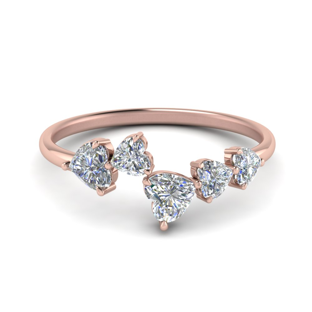 5 Stone Heart Diamond Ring