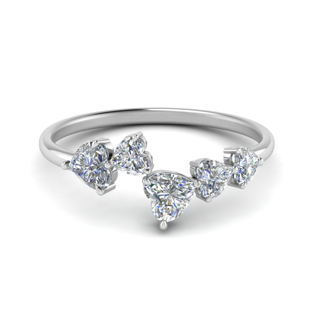 14K White Gold Five Stone Diamond Ring