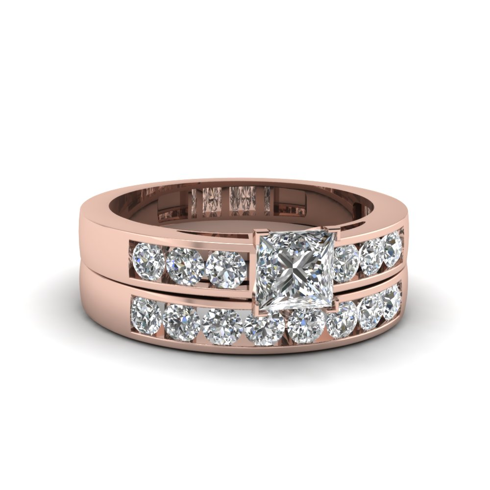 125 ct princess cut channel diamond bridal sets affordable engagement rings with white diamond in 14k rose gold - Affordable Diamond Wedding Rings