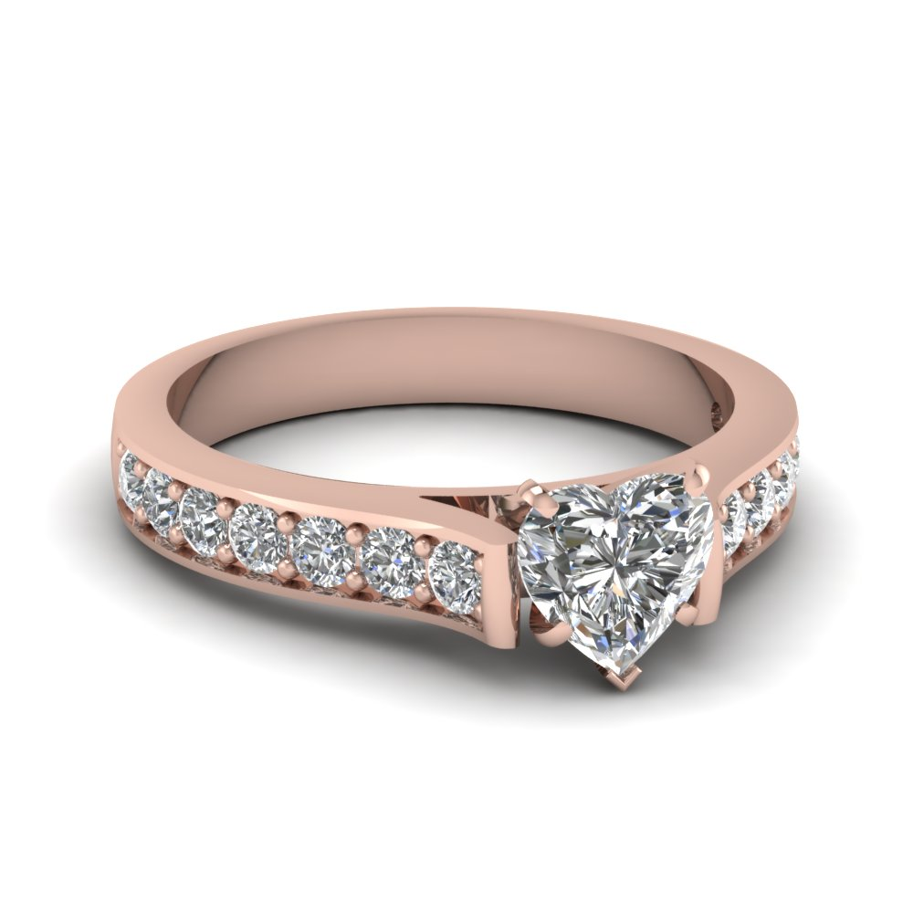 1.25 carat heart shaped diamond pave accent ring in 14K rose gold FDENS1102HTR NL RG
