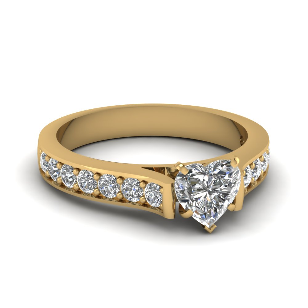 1.25 carat heart shaped diamond pave engagement ring in 14K yellow gold FDENS1102HTR NL YG