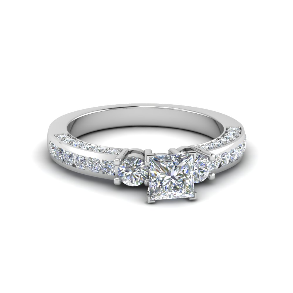 Princess Cut 3 Stone Diamond Accent Ring