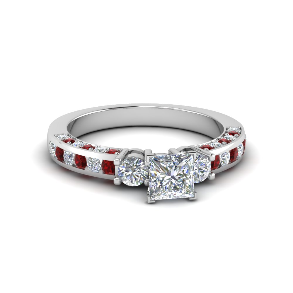 engagement ruby accents diamond ring accent rings vintage with