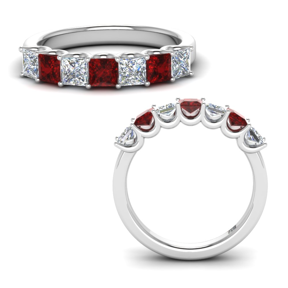 1.25-ct.-princess-cut-classic-diamond-7-stone-anniversary-band-with-ruby-in-FD123658PR(3.00MM)GRUDRANGLE3-NL-WG