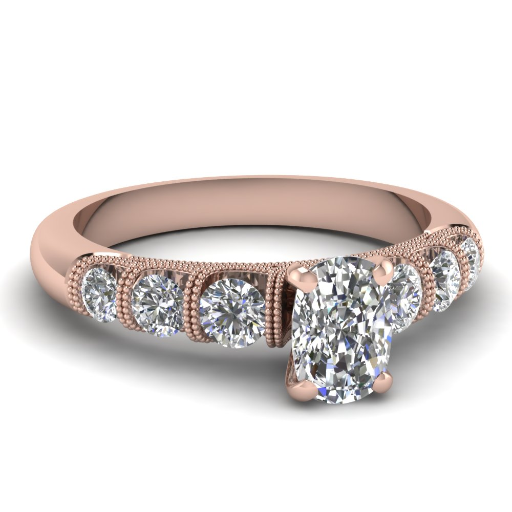 1.25 ct. cushion diamond milgrain bar set engagement ring in 14K rose gold FDENS1783CUR NL RG