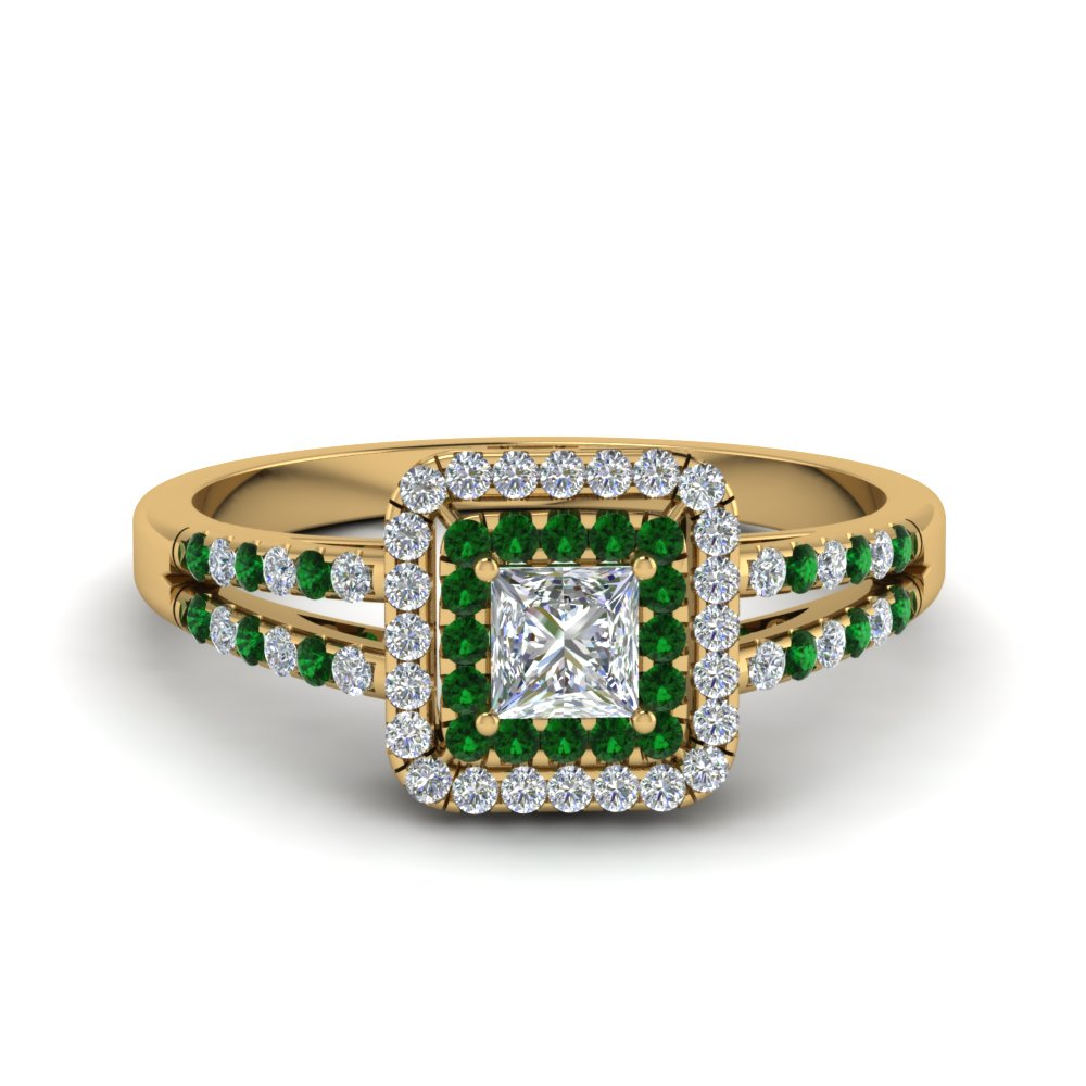 Gold Emerald Vintage Wedding Ring